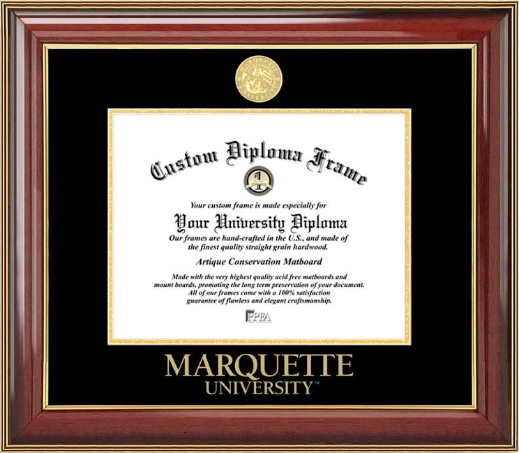 College - Marquette University Golden Eagles - Gold Medallion - Mahogany Gold Trim - Diploma Frame