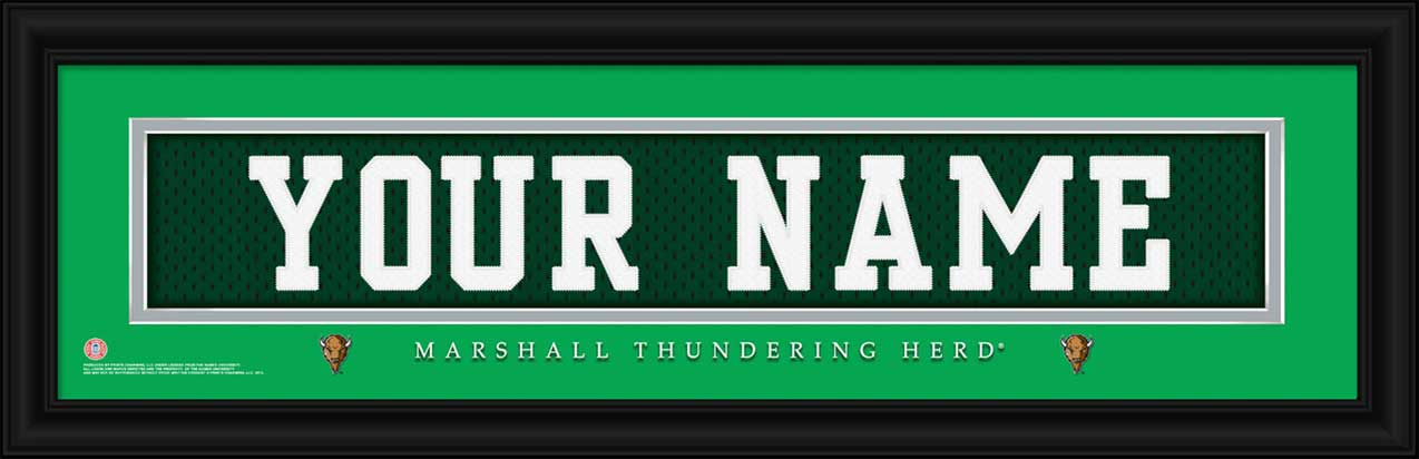 College - Marshall Thundering Herd - Personalized Jersey Nameplate - Framed Picture