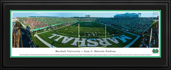 College - Marshall Thundering Herd - Joan C. Edwards Stadium - Kelly Green-Out - Framed Picture