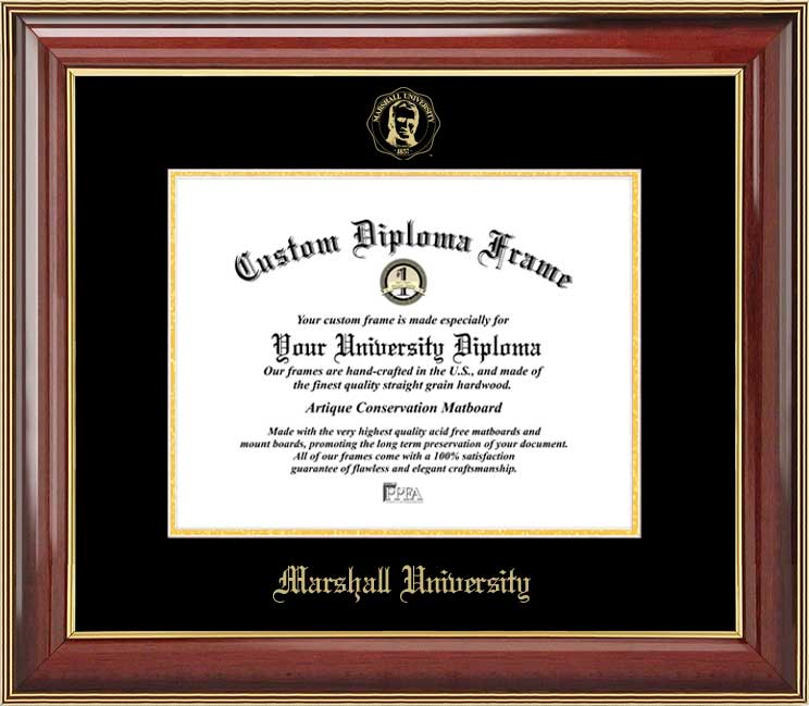 College - Marshall University Thundering Herd - Embossed Seal - Mahogany Gold Trim - Diploma Frame