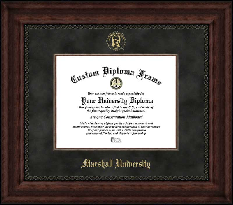 College - Marshall University Thundering Herd - Embossed Seal - Suede Mat - Mahogany - Diploma Frame