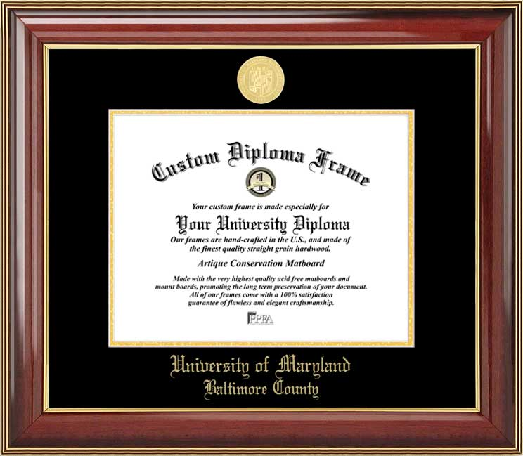 College - University of Maryland Baltimore County Retrievers - Gold Medallion - Mahogany Gold Trim - Diploma Frame