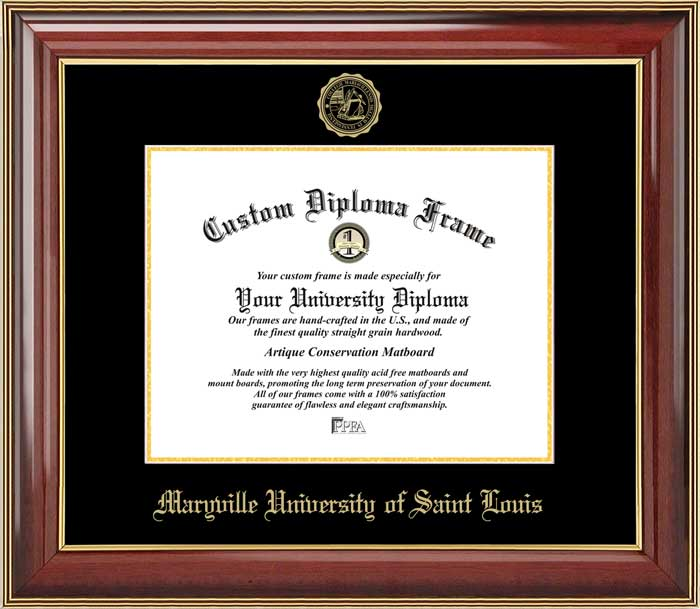 College - Maryville University of Saint Louis Saints - Embossed Seal - Mahogany Gold Trim - Diploma Frame