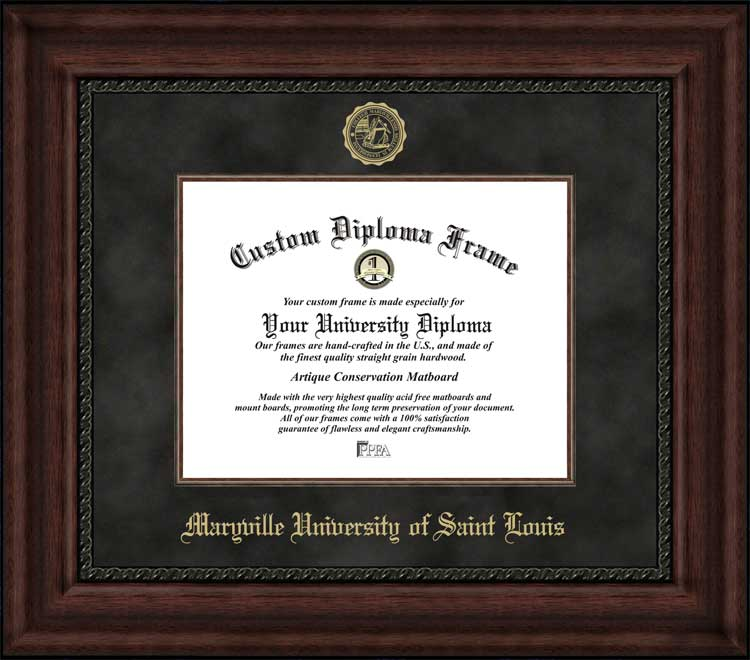 College - Maryville University of Saint Louis Saints - Embossed Seal - Suede Mat - Mahogany - Diploma Frame