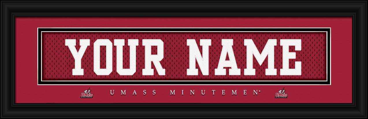 College - Massachusetts Minutemen - Personalized Jersey Nameplate - Framed Picture