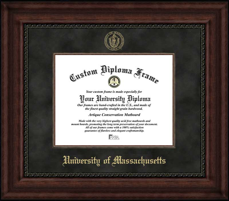 College - University of Massachusetts Minutemen - Embossed Seal - Suede Mat - Mahogany - Diploma Frame