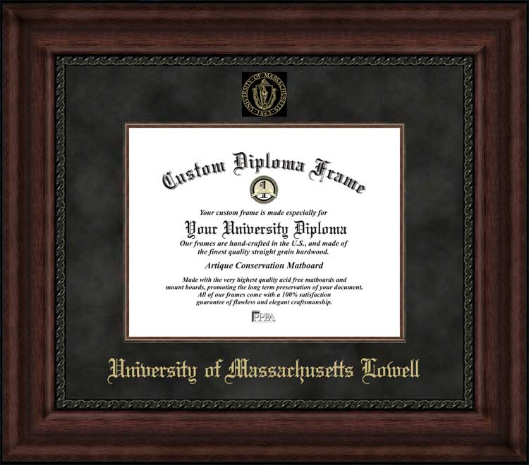College - University of Massachusetts Lowell UMass River Hawks - Embossed Seal - Suede Mat - Mahogany - Diploma Frame