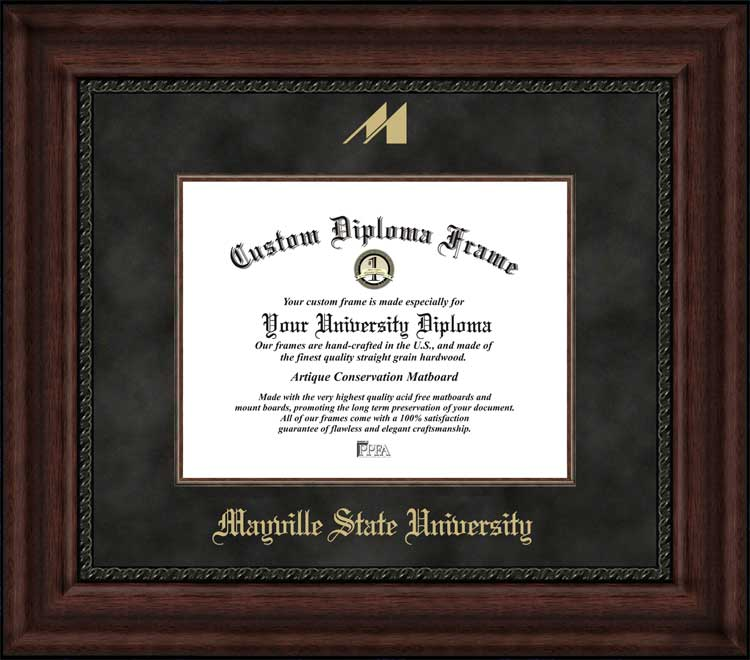 College - Mayville State University Comets - Embossed Logo - Suede Mat - Mahogany - Diploma Frame