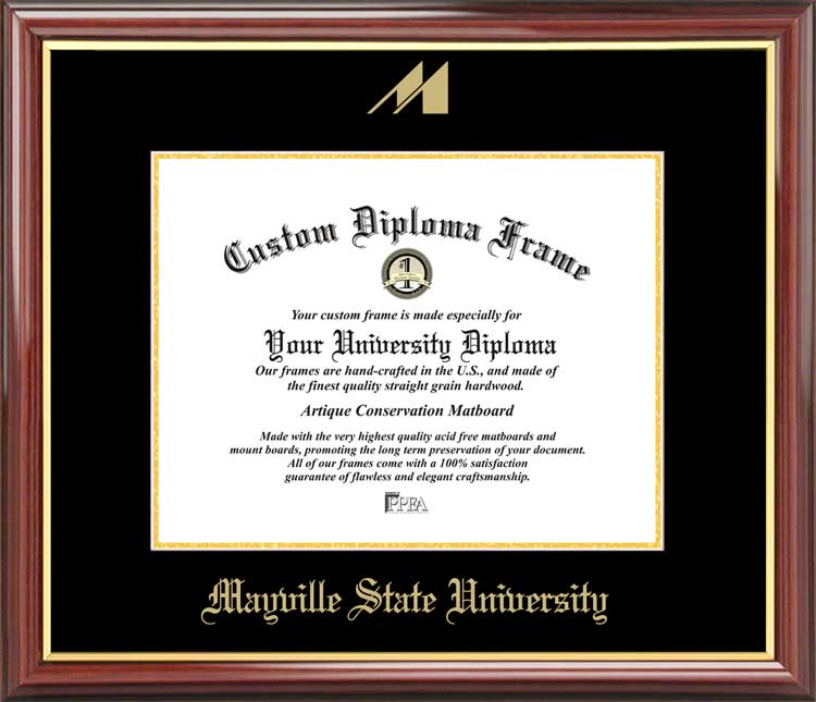 College - Mayville State University Comets - Embossed Logo - Mahogany Gold Trim - Diploma Frame