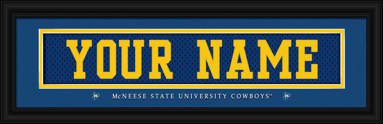 College - McNeese State Cowboys - Personalized Jersey Nameplate - Framed Picture