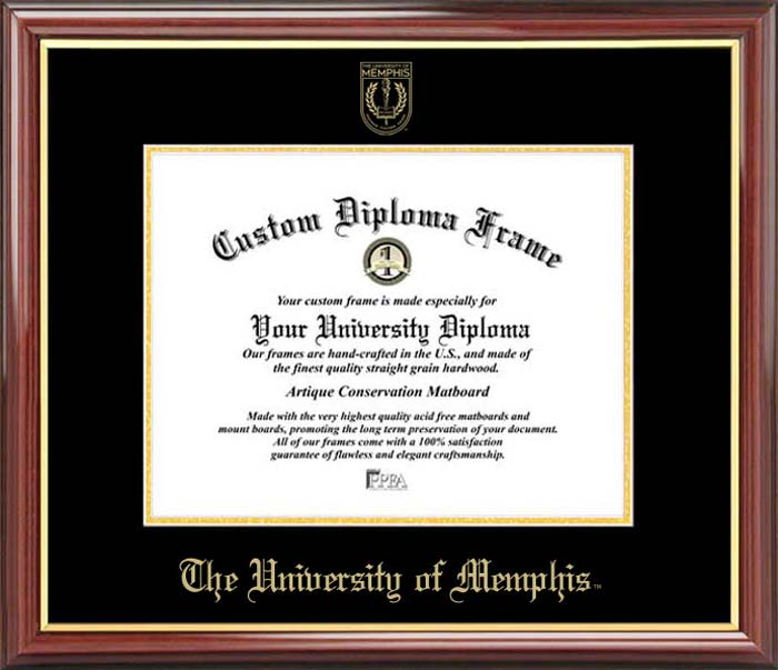 College - University of Memphis Tigers - Embossed Seal - Mahogany Gold Trim - Diploma Frame