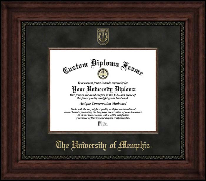 College - University of Memphis Tigers - Embossed Seal - Suede Mat - Mahogany - Diploma Frame