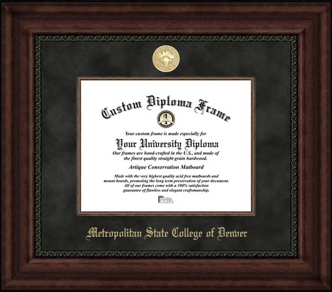 College - Metro State College of Denver Roadrunners - Gold Medallion - Suede Mat - Mahogany - Diploma Frame