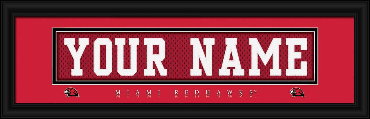 College - Miami Redhawks - Personalized Jersey Nameplate - Framed Picture