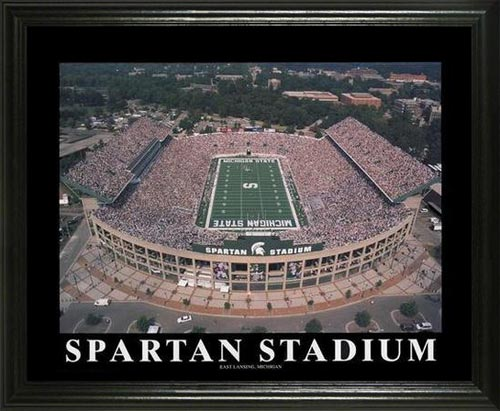 College - Michigan State Spartans - Spartan Stadium Aerial - Lg - Framed Picture