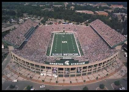 College - Michigan State Spartans - Spartan Stadium Aerial - Lg - Plaque Mounted & Laminated Print