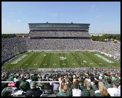 College - Michigan State Spartans - Spartan Stadium - Sm - Plaque Mounted & Laminated Print