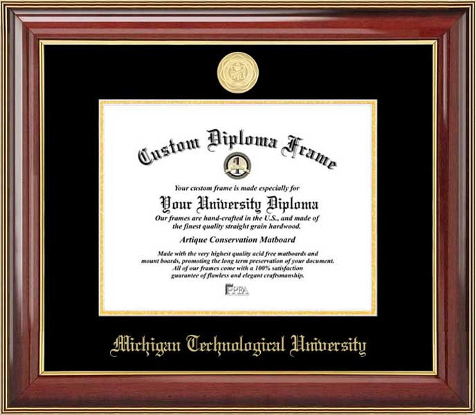 College - Michigan Technological University Huskies - Gold Medallion - Mahogany Gold Trim - Diploma Frame