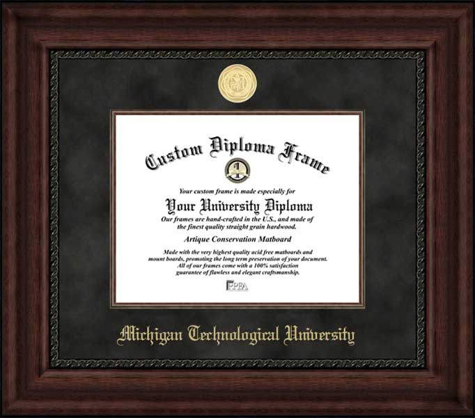 College - Michigan Technological University Huskies - Gold Medallion - Suede Mat - Mahogany - Diploma Frame