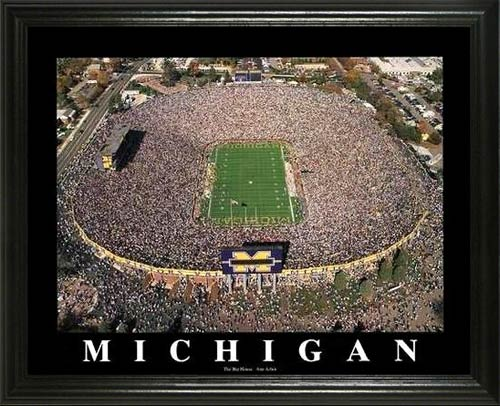 College - Michigan Wolverines - Michigan Stadium - The Big House - Lg - Framed Picture