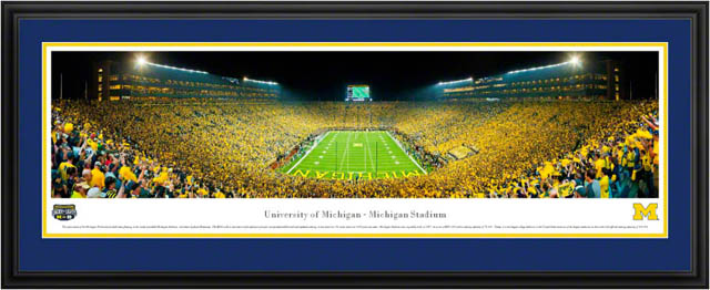 College - Michigan Wolverines - Michigan Stadium - Under the Lights - Framed Picture