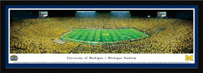 College - Michigan Wolverines - Michigan Stadium - Under the Lights II - Framed Picture