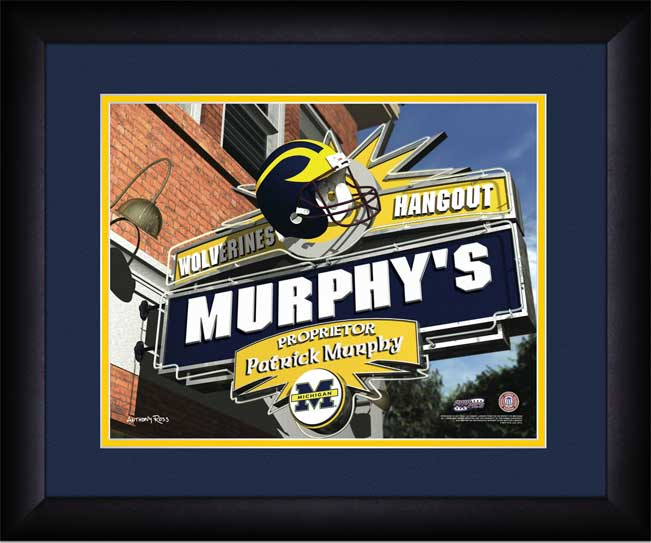 College - Michigan Wolverines - Personalized Hangout Sign - Framed Picture
