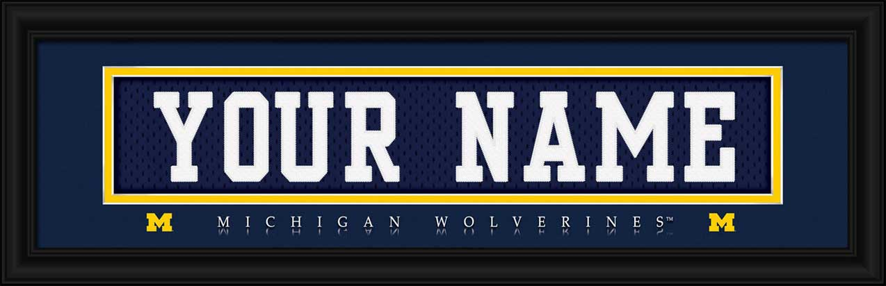 College - Michigan Wolverines - Personalized Jersey Nameplate - Framed Picture