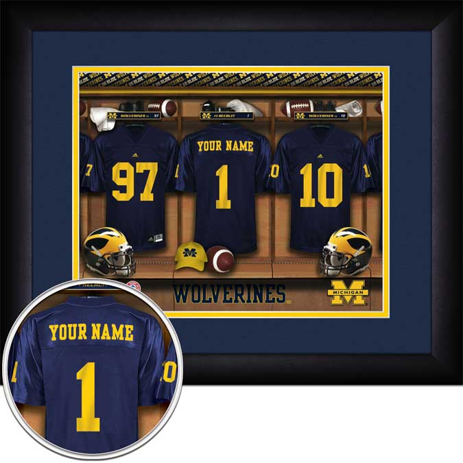 College - Michigan Wolverines - Personalized Locker Room - Framed Picture