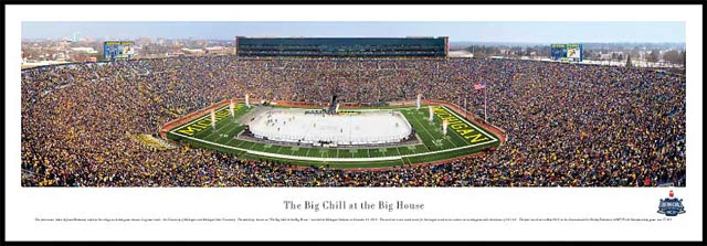 College - Michigan Wolverines - Big Chill at the Big House - Plaque Mounted & Laminated Print