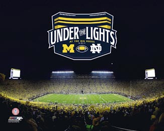 College - Michigan Wolverines - Michigan Stadium - Under the Lights - Sm - Plaque Mounted & Laminated Print