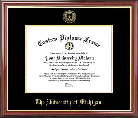 College - University of Michigan Wolverines - Embossed Seal - Mahogany Gold Trim - Diploma Frame
