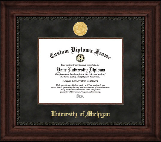 College - University of Michigan Wolverines - Gold Medallion - Suede Mat - Mahogany - Diploma Frame