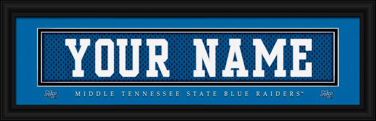 College - Middle Tennessee State Blue Raiders - Personalized Jersey Nameplate - Framed Picture