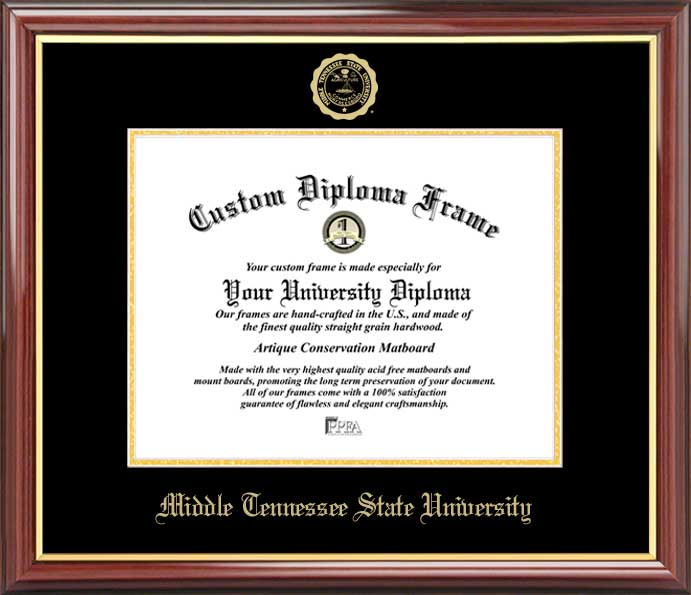 College - Middle Tennessee State University Blue Raiders - Embossed Seal - Mahogany Gold Trim - Diploma Frame