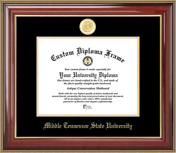 College - Middle Tennessee State University Blue Raiders - Gold Medallion - Mahogany Gold Trim - Diploma Frame