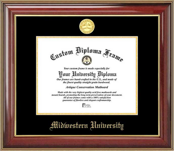 College - Midwestern University Fighting Geese - Gold Medallion - Mahogany Gold Trim - Diploma Frame