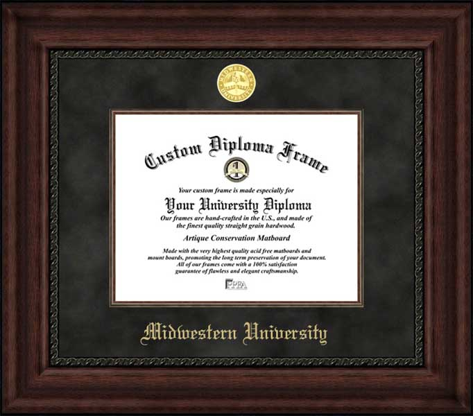 College - Midwestern University Fighting Geese - Gold Medallion - Suede Mat - Mahogany - Diploma Frame