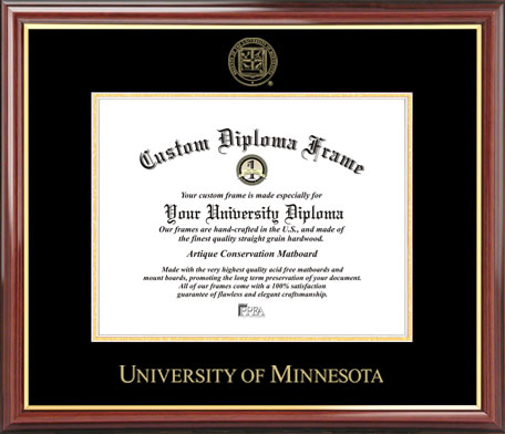 College - University of Minnesota Golden Gophers - Embossed Seal - Mahogany Gold Trim - Diploma Frame