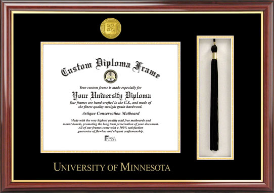 College - University of Minnesota Golden Gophers - Gold Medallion - Tassel Box - Mahogany - Diploma Frame