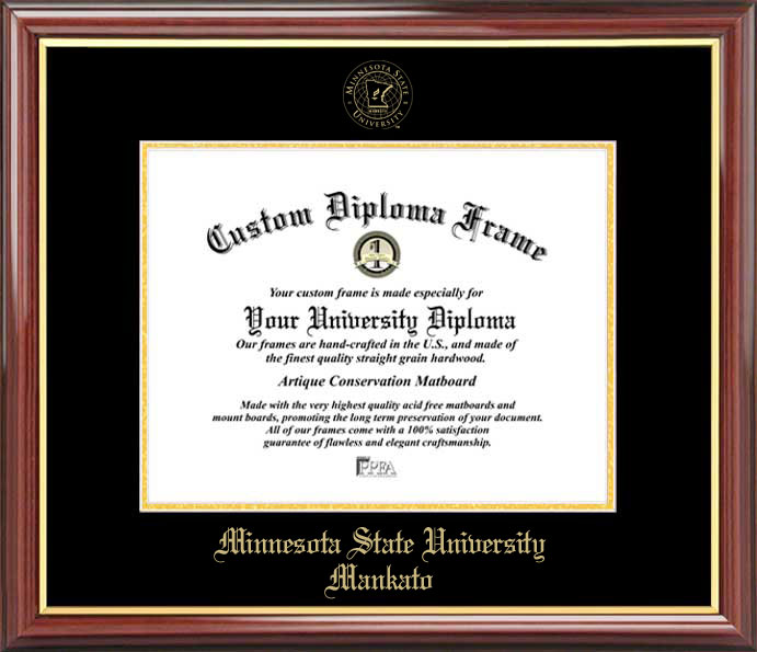 College - Minnesota State University Mankato Mavericks - Embossed Seal - Mahogany Gold Trim - Diploma Frame