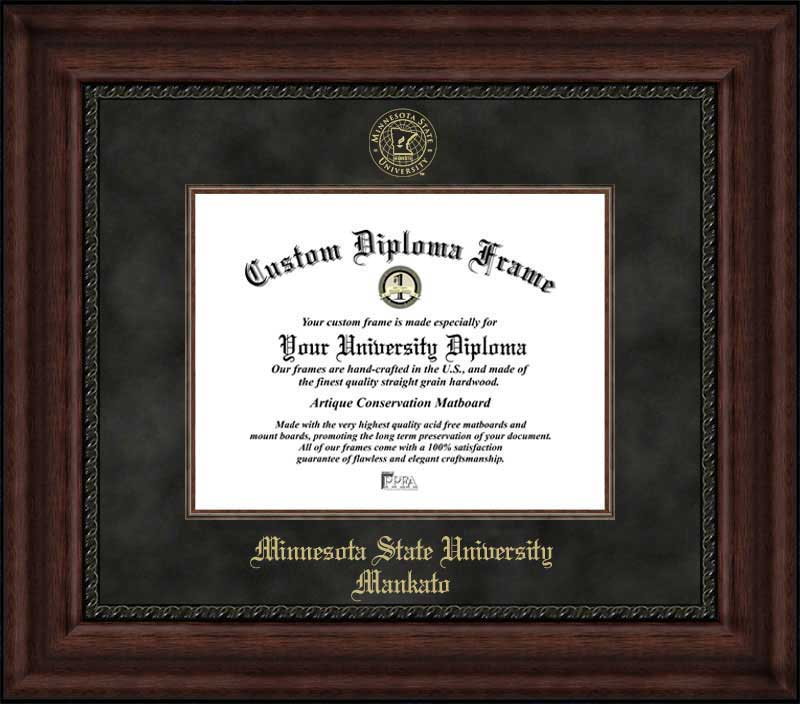 College - Minnesota State University Mankato Mavericks - Embossed Seal - Suede Mat - Mahogany - Diploma Frame