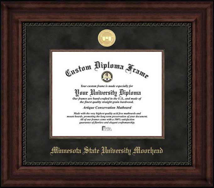 College - Minnesota State University Moorhead Dragons - Gold Medallion - Suede Mat - Mahogany - Diploma Frame