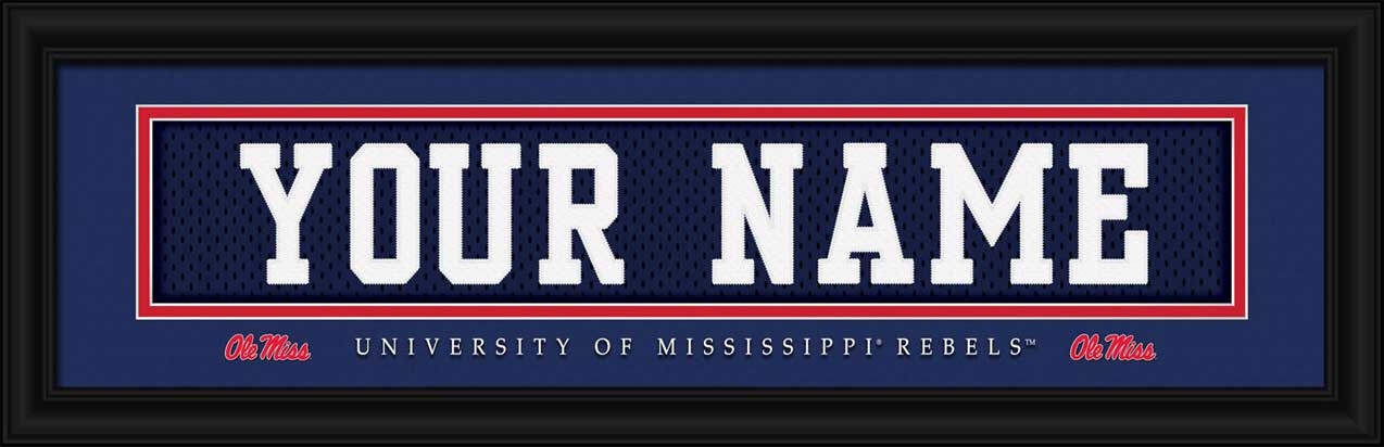 College - Mississippi Rebels - Personalized Jersey Nameplate - Framed Picture