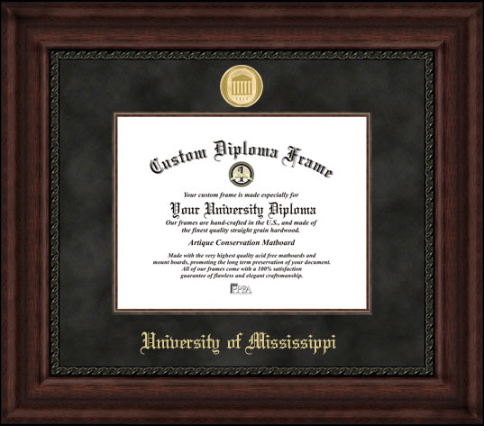 College - University of Mississippi Rebels - Gold Medallion - Suede Mat - Mahogany - Diploma Frame