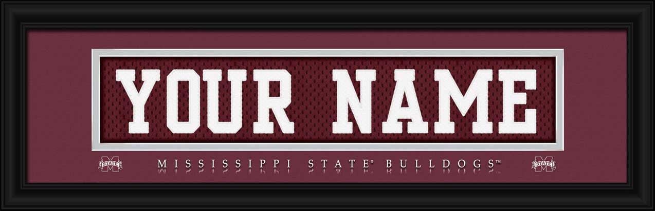 College - Mississippi State Bulldogs - Personalized Jersey Nameplate - Framed Picture