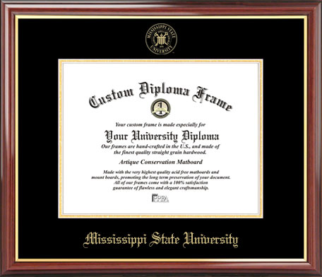 College - Mississippi State University Bulldogs - Embossed Seal - Mahogany Gold Trim - Diploma Frame