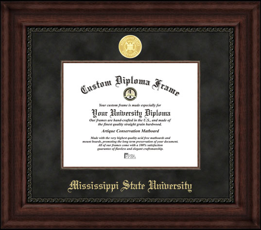 College - Mississippi State University Bulldogs - Gold Medallion - Suede Mat - Mahogany - Diploma Frame