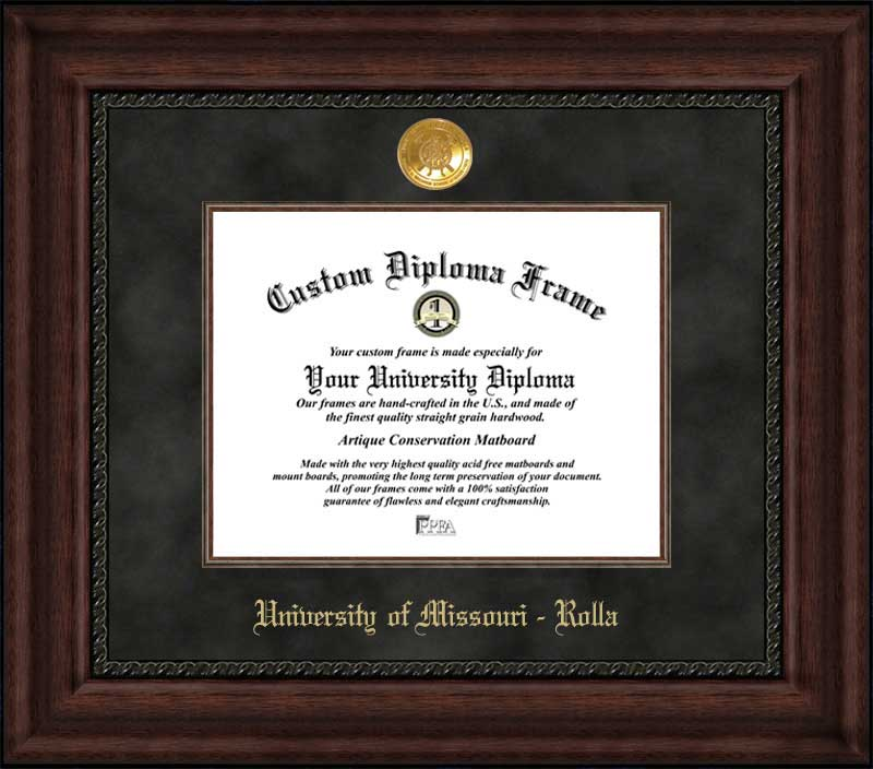 College - University of Missouri-Rolla Miners - Gold Medallion - Suede Mat - Mahogany - Diploma Frame