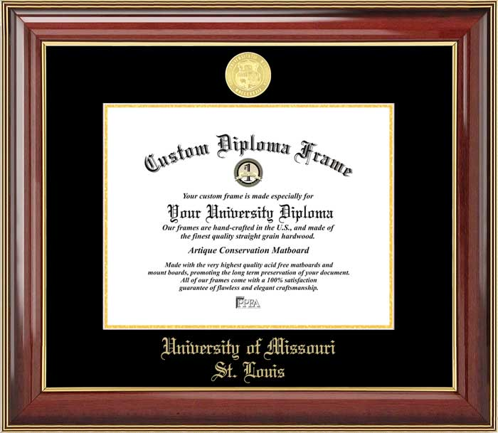 College - University of Missouri Saint Louis Tritons - Gold Medallion - Mahogany Gold Trim - Diploma Frame